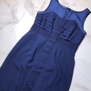 Anthropologie Maeve Navy Illusion Neckline Dress